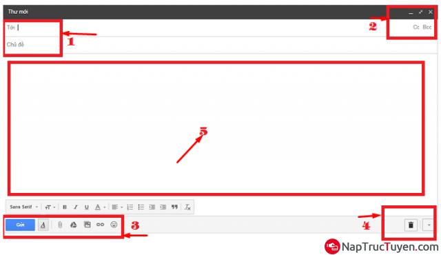 Các bước thực hiện gửi và nhận thư điện tử Email, Gmail + Hình 5